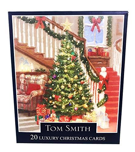 Biglietti di auguri natalizi di Tom Smith, 2 disegni, entrambi con albero di Natale, confezione da 24, dedica interna (in lingua inglese)