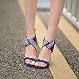 Summer womens shoes, suede and sandals, large size high-heeled shoes, womens shoes,blue,37