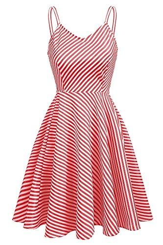 Kleid Und Blau Kostüm Gestreiften Weiß - Meaneor Damen Vintage Kleid Sommer Gestreiftes Kleid Trägerkleid V-Ausschnitt A Linie Kleid mit Hoher Taille Partykleid Strandkleid Knielang rot weiss gestreift