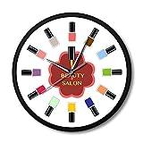 GWEFFX Wanduhr 12 Bunte Nagellack Beauty Salon Wanduhr mit Metallrahmen Pediküre Nail Art Nail Salon Stuido Decor Techniker