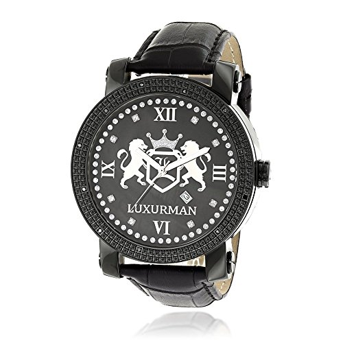 LUXURMAN Phantom Large Black Diamond Watch for Men Leather Band Black MOP 0.12ct