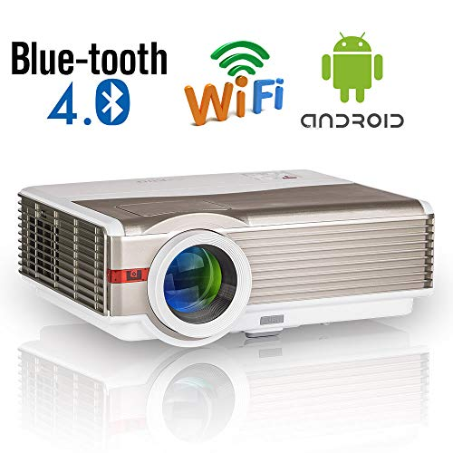 Proiettore per esterni Home Theater con Bluetooth, Videoproiettore Smart Wifi a 5000 lumen LED Supporta 1080P Proiettore di mirroring dello schermo wireless LCD HD Android con HDMI USB VGA AV Audio TV