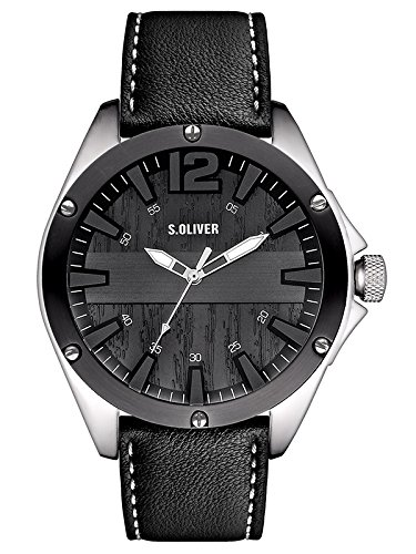 s.Oliver - SO-2829-LQ - Montre Homme - Quartz Analogique - Bracelet Cuir Noir