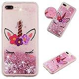 Carols Coque iPhone 8 Plus / 7 Plus iPhone 8 Plus / 7 Plus Mignon De Luxe Conception Créative Sparkly Cristal 3D Liquide Quicksands Transparente Silicone - Licorne