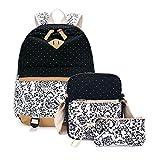 Lässige Leinwand Schule Rucksack Set + Tasche Schultertasche Rucksack + Brieftasche/Federmäppchen Kausal Freizeit Ruck