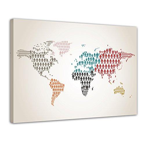 Kunstdruck - Weltkarte Piktogramm Mensch II - Bild auf Leinwand - 80x60 cm 1 teilig - Leinwandbilder - Bilder als Leinwanddruck - Wandbild von Bilderdepot24 (Globale Ansichten Home Decor)