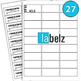 2700 Etiketten - 100 Blatt DIN A4 Laser und Tinte Universal á 27 Etiketten 63,5 x 29,6 mm für Adressen Haushalt amazon FBA, stark haftend