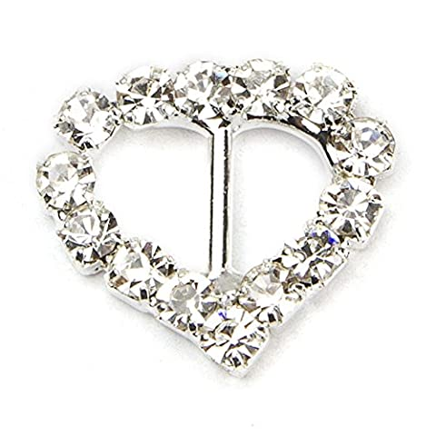 Janecrafts 50pcs 13mm Sweet Heart-shaped Rhinestone Buckle Slider for Invitation Wedding Letter