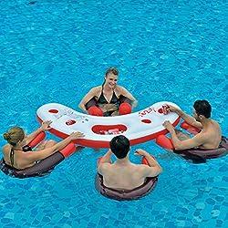 Jilong fashion water bar - Set de piscina consistente en 4 sillones acuáticos con asiento de malla y una mesa con portavasos