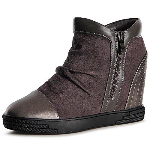 Hidden Wedge Boot (topschuhe24 1061 Damen Stiefeletten Keilabsatz Boots Booties, Farbe:Grau;Größe:40)
