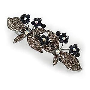 Avalaya Doppelte Schmetterlings-Haarspange in Gunmetal Finish (Dim Grey, Dark Blue) – 85 mm