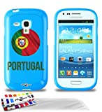 Carcasa Flexible Ultra-Slim SAMSUNG GALAXY S3 MINI ( I8190 ) de exclusivo motivo [Balón de fútbol Portugal] [Azul] de MUZZANO  + 3 Pelliculas de Pantalla 'UltraClear' + ESTILETE y PAÑO MUZZANO REGALADOS - La Protección Antigolpes ULTIMA, ELEGANTE Y DURADERA para su SAMSUNG GALAXY S3 MINI ( I8190 )