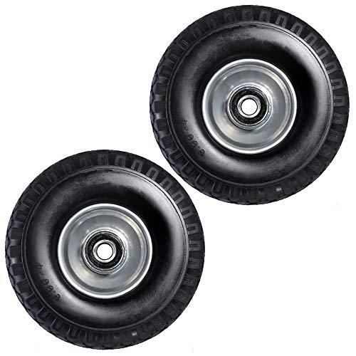 2x Ersatz-Reifen PU-Schaum 260mm schwarz für Schubkarre Sackkarre Reifen Rad 3.00-4 auf Stahlfelge