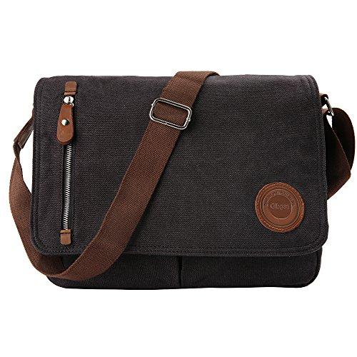 Umhängetasche Herren Arbeitstaschen für Herren Damen Schultasche Messenger Bag Laptoptasche für Arbeit Büro 14'' Laptop Uni Reise (Schwarz)