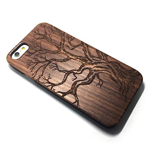 Apple 5/5S/SE Case,iPhone 5/5S/SE Custodia, Custodia in Natura Legno con Copertura Difficile di PC Case Cover per Apple iPhone 5/5S/SE(4.0 Pollici)(flower) Walnut Dead tree