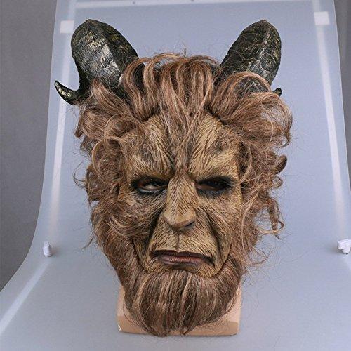 (K-Y YK Beast Maske Schönheit und Erwachsene Helm Vollgesichtsmaske Royal Maske Robbie Benson Latex Maske Make-up Cosplay Partei Halloween Latex Maske (Short Hair))