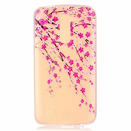 MUTOUREN Handyhülle für LG K10 TPU Silikon Case Cover Durchsichtig Schutzhülle Tasche Etui Bumper Ultradünne Weich Kratzfeste Soßdämpfende Silikontasche Hülle Weiß - schön Pfirsichblüte Rosa (Puma-laufwerk)