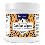 Petpost | Cat Ear Cleaner Wipes - 100 Ultra Soft Cotton Pads in Coconut Oil Solution - Treatment for Cat Ear Mites & Cat Ear Infections