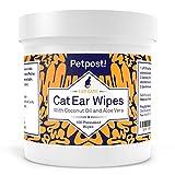 Petpost | Salviette detergenti per le orecchie dei gatti - 100 dischetti in cotone ultra morbidi con soluzione all'olio di cocco - Trattamento per gli acari e per le infezioni delle orecchie dei gatti
