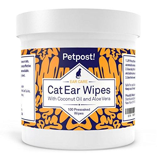 Petpost | Lingettes nettoyantes pour Oreilles de Chats - 100 compresses Ultra Douces à l'huile de Noix de Coco - Traitement pour problémes des Oreilles et Oreilles Sales chez Les Chats.