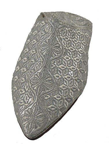 Orientalische Schuhe Babouche Hausschuhe Pantoffel Slipper aus Marokko - Damen Hausschuhe aus Leder-Brokat , Handarbeit aus Fes Silber