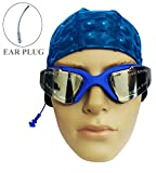 Aurion 555-BLUE (PU-Cap+Goggle) Anti Fog Swimming Goggles with Cap for Adults