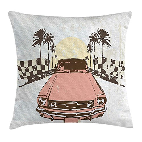 Grunge Throw Pillow Cushion Cover, Old Fashioned Car Auto Sport Checkers Palms Sun Retro Road Racing Speed, Decorative Square Accent Pillow Case, 18 X 18 Inches, Coral Mint Green Yellow Palm Double Old Fashioned