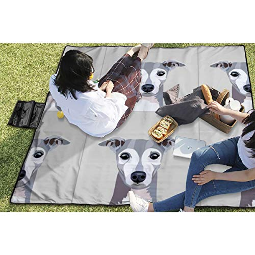 BigHappyShop Picnic Blanket Italian Greyhound with Cut Lines Dog Panel, Dog, Cut and Sew Waterproof Extra Large Outdoor Mat Camping Or Travel Easy Carry Compact Tote Bag 59