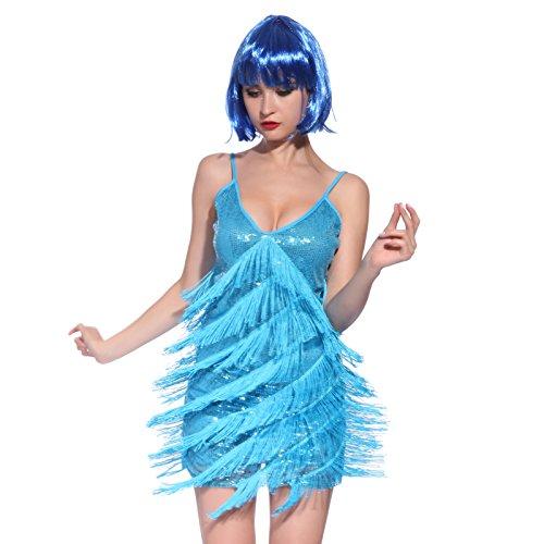 Fransen Flapper Kleider Fransenkleid Hochzeitkleid Latein Tanzkleid Partykleid Mini Charleston Kleider Blau