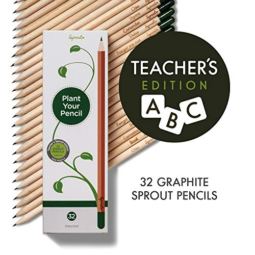 Teacher's Special Edition - Sprout plantable graphite pencils with seeds in eco friendly wood | 32 Pack |Gift set with herbs and flowers
