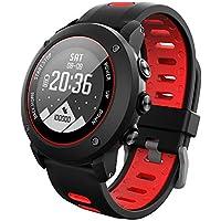 Lixada 100M Impermeable GPS Deportes Reloj Multi-Deportes Ritmo Cardíaco Monitor Actividad Fitness Tracker (Rojo)