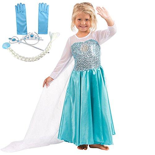 Katara E1 blau/türkises Disney Eiskönigin Elsa inspiriertes Prinzessinen-Frozen-Kleid für Mädchen mit Diadem, Zauberstab, Handschuhen, Zopf (Und Singen Olaf Tanzen)