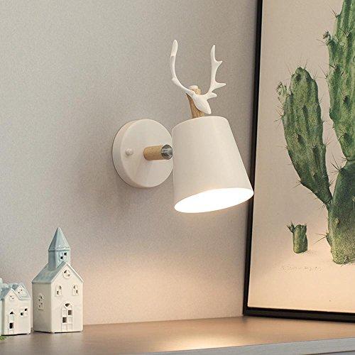 Swing Arm Wand Lampe (Geweih Hirsch Kopf Wand Lampe Led Einfache Moderne Minimalistische Holz Wohnzimmer Dekoration Lichter Gang Balkon Lampen 40W Wand Beleuchtung E27 Birne Breite 13 Cm * Höhe 28 Cm , B)