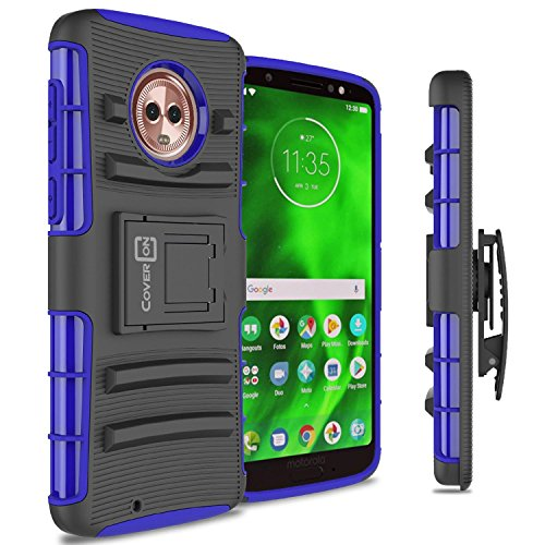 Moto G6Holster Fall, coveron [Explorer Series] Heavy Duty Ständer Handy, mit Gürtelclip Holster für Motorola Moto G6, Blue on Black (Moto G Cricket Phone)