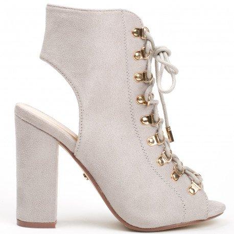 Ideal Shoes - Bottines montantes peep toe à lacets et ouvertes à l'arrière Laiza Gris
