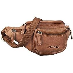STILORD 'Eliah' Vintage Bolso de Pecho Bolso Bandolera de Cintura con correa Vintage Riñonera para móvil & la cámara digital, de cuero auténtico de búfalo, Color:cognac - marrón claro