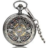 JewelryWe Reloj de Bolsillo Negro, Retro Vintage Reloj Mecánico, Hueco Nudo Chino De Suerte Y Felicidad, Relojes para Hombre/Mujer, Buen Regalo