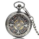 JewelryWe Reloj de Bolsillo mecánico Cuerda Manual, clásico Retro Reloj Bronce, Pantalla Dual Hueco, Reloj de Bolsillo Antiguo (E)