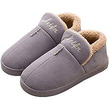 Invierno Inicio Zapatos De Algodón Pareja Zapatillas Color Sólido Calor Antideslizante Hombre