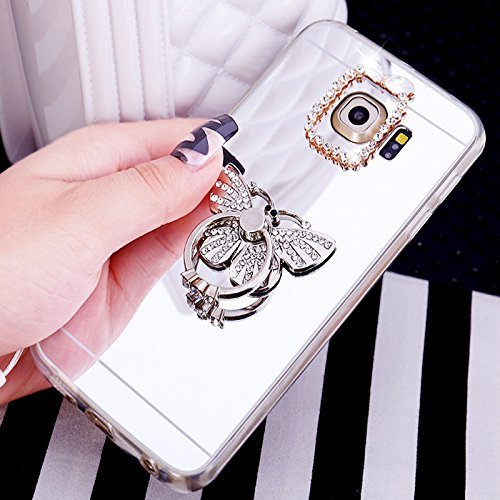 Galaxy Note 4 Coque,Galaxy Note 4 Housse Diamant,ETSUE Mode Luxe Miroir Bling Glitter Galaxy Note 4 Silicone Coque Luxueux Crystal Scintiller Coque Bague Etui Coque Rose Romantique Élégant Fleur Couro Papillon Agrent