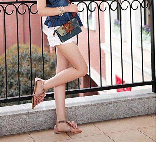 NobS Boemia Sandali Fiori Pattini Degli Appartamenti Grandi Dimensioni Donne Formato Sandali 40-43 Open Toe Piatto Cinturini Alla Caviglia Shoes Pink