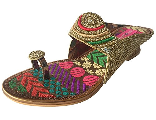 Mesdames Chaussures saree salwar kameez Chaussures Chaussures Khussa indien ethnique jooti multicouleur - Multicolore