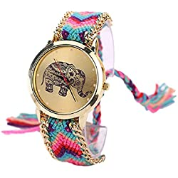 Mallom® Women Elephant Pattern Weaved Rope Band Bracelet Quartz Dial Watch