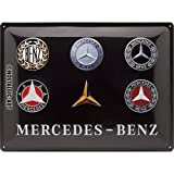 Nostalgic-Art 23251 Mercedes-Benz - Logo Evolution  | Retro Blechschild | Vintage-Schild | Wand-Dekoration | Metall | 30x40 cm