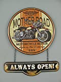 TD Retro Blechschild 2-tlg - Route 66 Motorcycle Repair - USA Deko Wanddeko im Nostalgiestil 50 x 40 cm