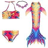 2XDEALS Meerjungfrau Schwanz mit Meerjungfrau Badeanzug Schwanzflosse Zum Schwimmen Kostüm Für Kinder Mädchen, 3-4 Jahre, Rot Gelb