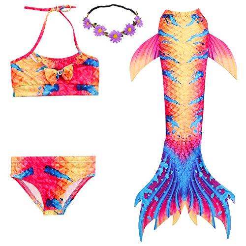 2XDEALS Meerjungfrau Schwanz mit Meerjungfrau Badeanzug Schwanzflosse Zum -