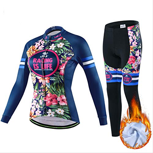 FREEMY Fahrradbekleidung, Herbst und Winter Langarm-Fahrradset, Damen Samt Warme Fahrradbekleidung M Celine Dunkelblau