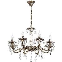 Lampadario candele classico in ottone antico con cristalli trasparenti colore xl 8-luci salotto 8 * 60W E14