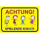 """Hinweisschild """"Achtung! Spielende Kinder"""", Größe: 40x30cm, Art. hin_045, Achtung, Vorsicht, Warnung, Hinweis auf Kinder, langsam fahren, Spielstraße"""